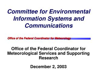 Committee for Environmental Information Systems and Communications