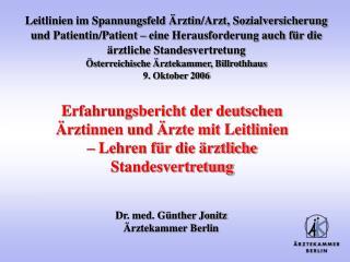 Dr. med. Günther Jonitz Ärztekammer Berlin