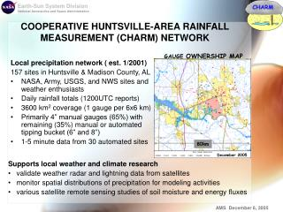COOPERATIVE HUNTSVILLE-AREA RAINFALL MEASUREMENT (CHARM) NETWORK