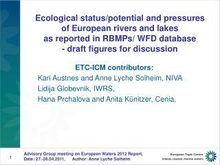 ETC-ICM contributors: Kari Austnes and Anne Lyche Solheim, NIVA Lidija Globevnik, IWRS,