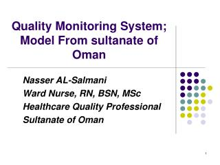 Quality Monitoring System; Model From sultanate of Oman