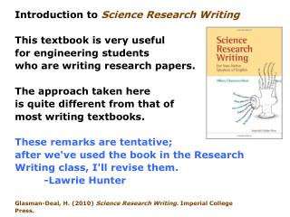 Introduction to  Science Research Writing This textbook is very useful for engineering students