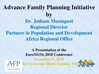 Advance Family Planning (AFP) Goal and Objectives
