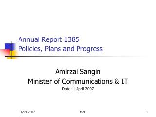 Annual Report 1385 Policies, Plans and Progress