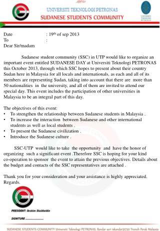 Date:  19 th of  sep  2013 To : Dear Sir/madam