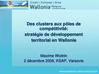 Des clusters aux p�les de comp�titivit�:  strat�gie de d�veloppement  territorial en Wallonie