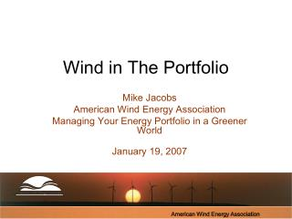 Wind in The Portfolio
