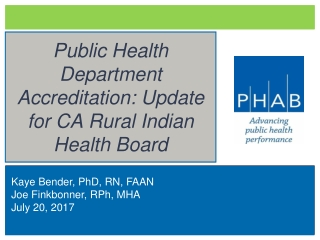 Public Health  Accreditation Board:  Overview and Status Report