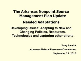 The Arkansas Nonpoint Source Management Plan Update Needed Adaptations