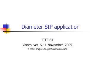 Diameter SIP application