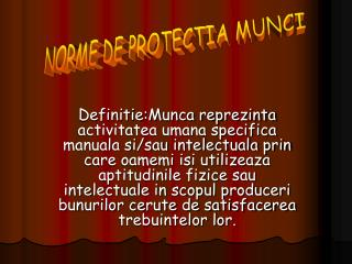 NORME DE PROTECTIA MUNCI