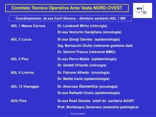 Comitato Tecnico Operativo Area Vasta NORD-OVEST