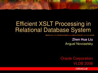 Efficient XSLT Processing in Relational Database System