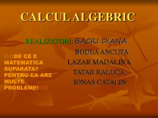 CALCUL ALGEBRIC