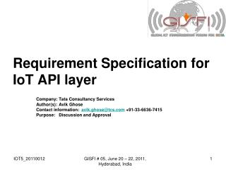 Requirement Specification for IoT API layer