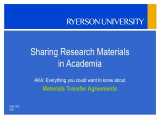 Sharing Research Materials in Academia