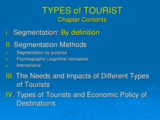 TYPES  of  TOURIST  Chapter Contents