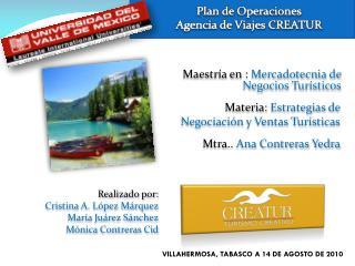 Maestría en :  Mercadotecnia de Negocios Turísticos