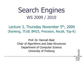 Search Engines WS 2009 / 2010