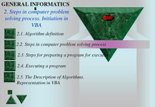 2. Steps in computer problem solving process. Initiation in VBA