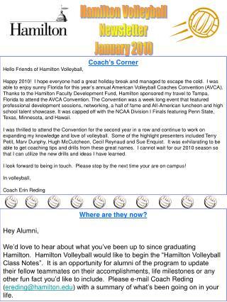 Hamilton Volleyball Newsletter January 2010