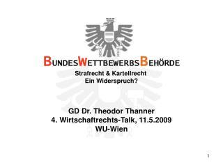 GD Dr. Theodor Thanner 4. Wirtschaftrechts-Talk, 11.5.2009 WU-Wien