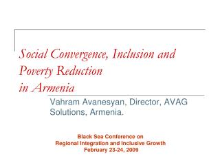 Social Convergence, Inclusion and Poverty Reduction  in Armenia