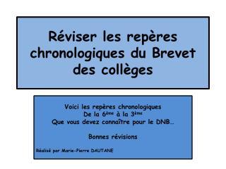 Réviser les repères chronologiques du Brevet des collèges
