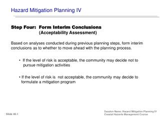 Hazard Mitigation Planning IV
