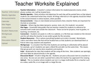 Teacher Worksite Explained