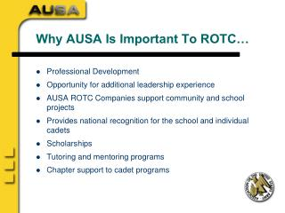 Why AUSA Is Important To ROTC…