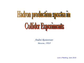 Hadron production spectra in  Collider Experiments