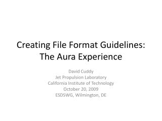 Creating File Format Guidelines: The Aura Experience