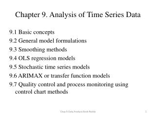Chapter 9. Analysis of Time Series Data