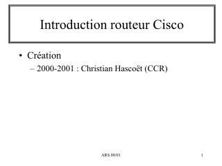 Introduction routeur Cisco