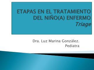 ETAPAS EN EL TRATAMIENTO DEL NI�O(A) ENFERMO  Triage