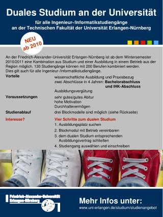 Mehr Infos unter: uni-erlangen.de/studium/studienangebot