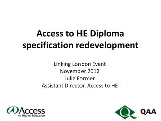 Access to HE Diploma  specification redevelopment