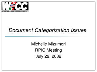 Document Categorization Issues
