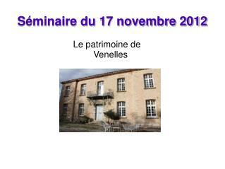 S�minaire du 17 novembre 2012