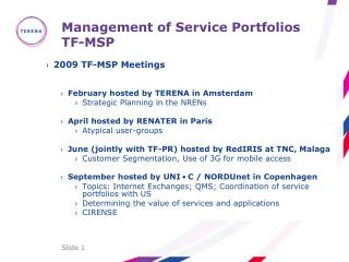 Management of Service Portfolios TF-MSP