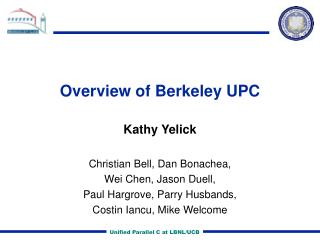 Overview of Berkeley UPC