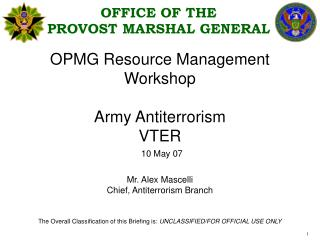 OPMG Resource Management  Workshop  Army Antiterrorism  VTER