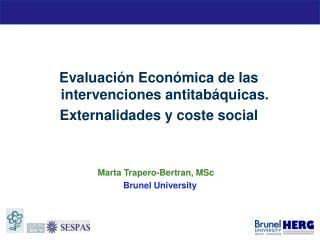 Evaluaci�n Econ�mica de las intervenciones antitab�quicas. Externalidades y coste social