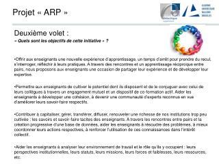 Projet «ARP»
