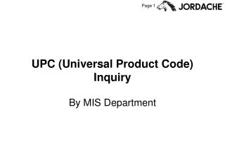 UPC (Universal Product Code) Inquiry