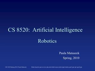 CS 8520:  Artificial Intelligence