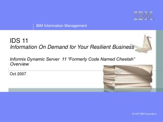 IDS 11 Information On Demand for Your Resilient Business  Informix Dynamic Server  11  Formerly Code Named Cheetah  Over