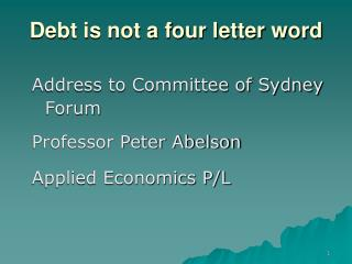 Debt is not a four letter word