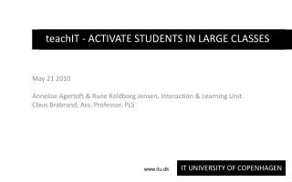 teachIT - ACTIVATE STUDENTS IN LARGE CLASSES